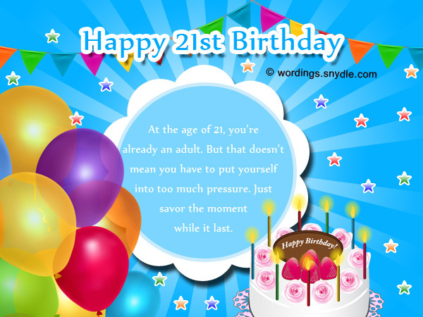 Best ideas about 21st Birthday Wishes . Save or Pin 21st Birthday Wishes Messages and 21st Birthday Card Now.