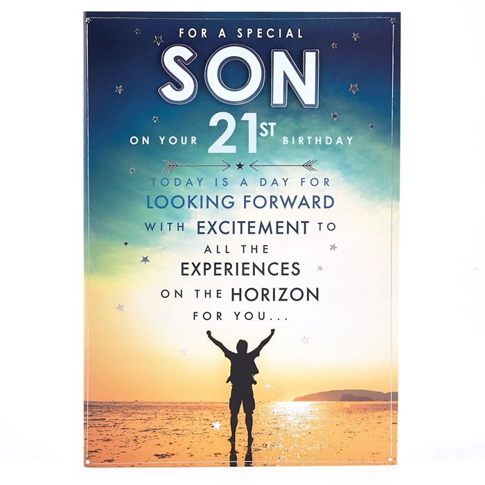 Best ideas about 21st Birthday Wishes For A Son . Save or Pin 21st Birthday Card Special Son Beach Scene Now.