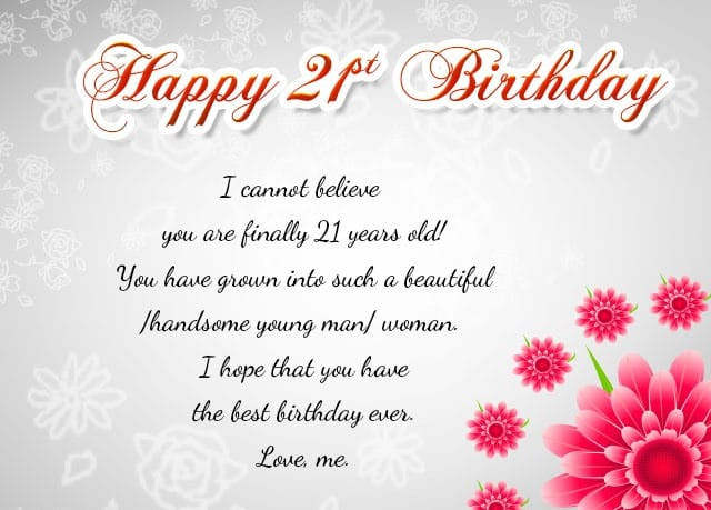 Best ideas about 21st Birthday Wishes . Save or Pin Happy 21 Birthday 21St Birthday for Her Now.