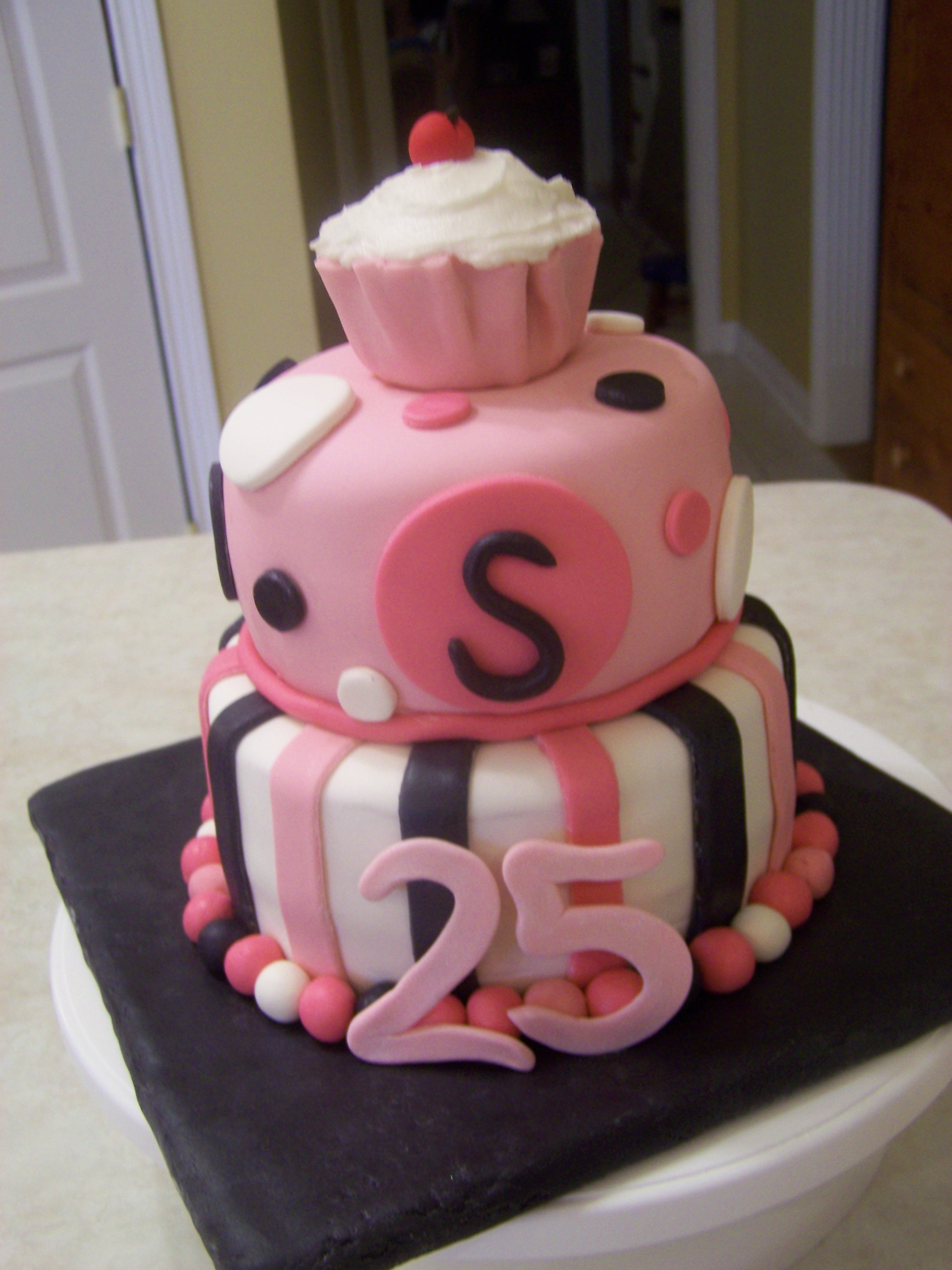 Best ideas about 25 Birthday Cake . Save or Pin Pink Black 25th Birthday Cake Now.