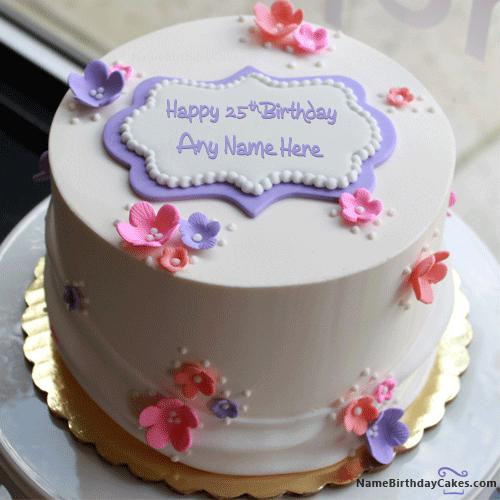 Best ideas about 25 Birthday Cake . Save or Pin Happy 25th Birthday Cake With Name Now.