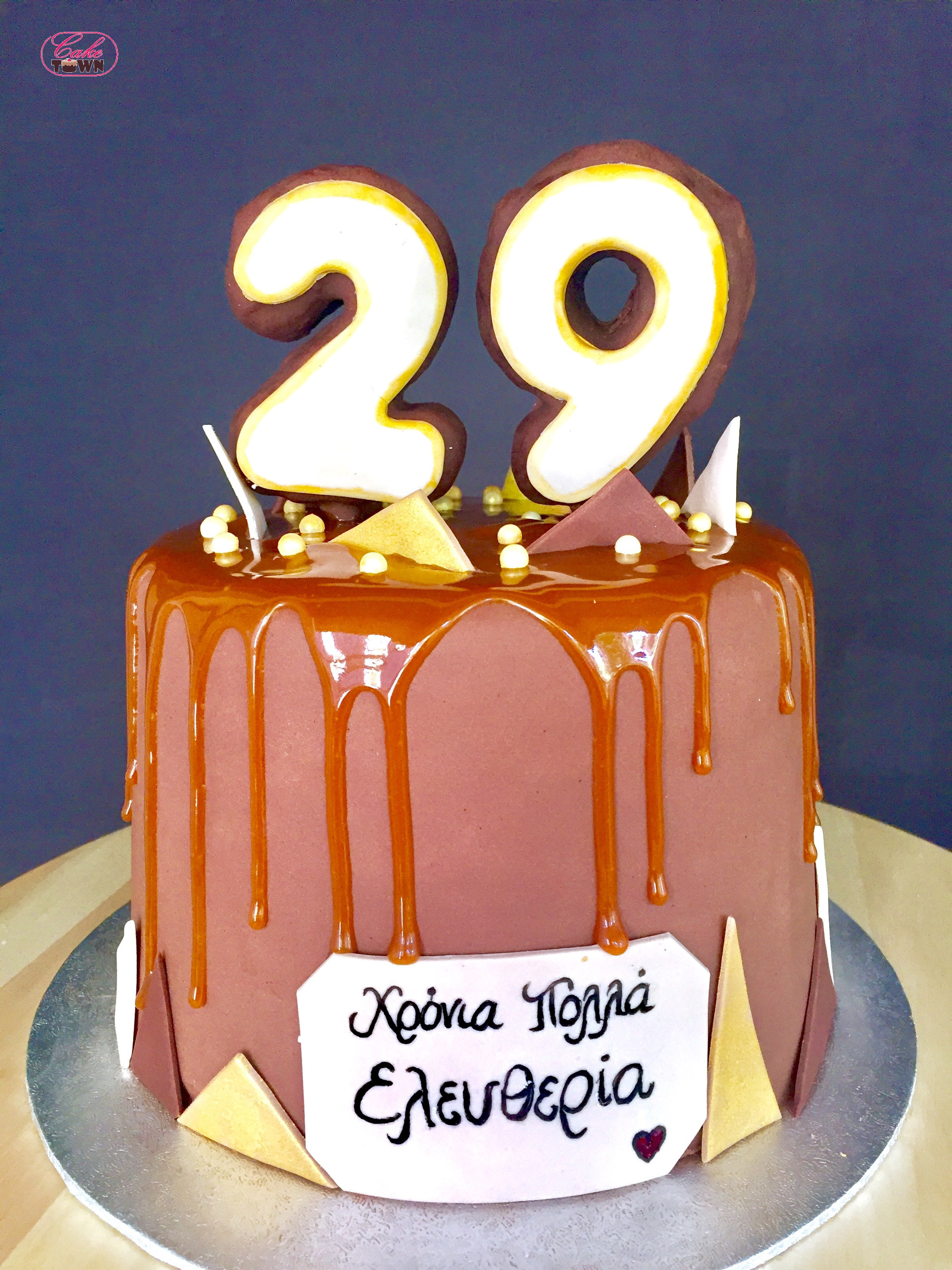 """Best ideas about 29th Birthday Cake . Save or Pin Chocolate & Caramel drip """"29th"""" birthday cake Now."""