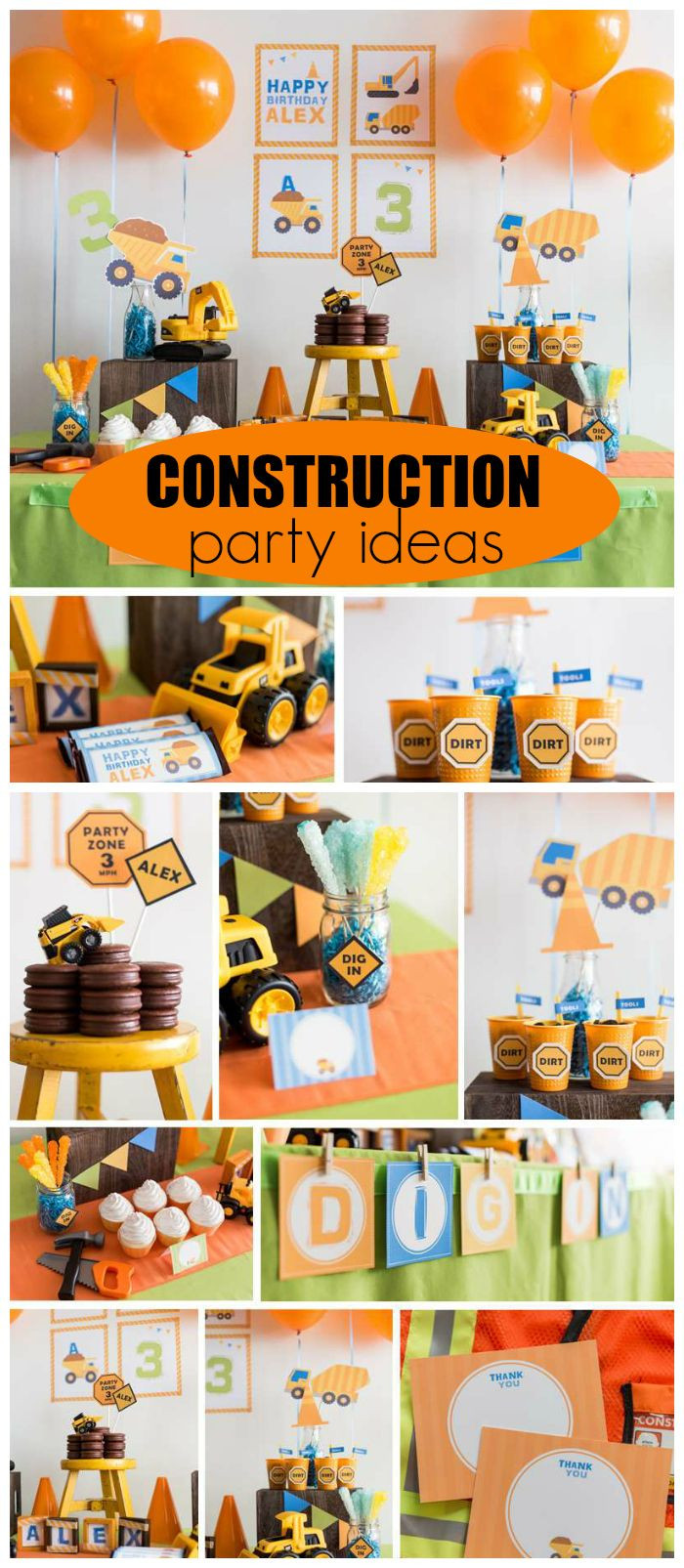 """Best ideas about 2Nd Birthday Gift Ideas For Boys . Save or Pin Construction Birthday """"Construction Party"""" Now."""