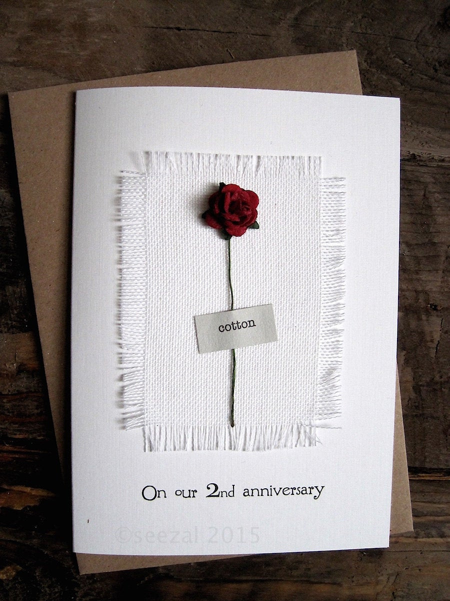 Best ideas about 2Nd Year Anniversary Gift Ideas . Save or Pin 2nd Anniversary Keepsake COTTON Card Cotton Fabric with a Now.