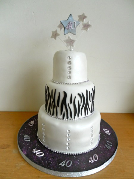 Best ideas about 3 Tier Birthday Cake . Save or Pin SAM 0570 40th birthday cake 3 tier Now.