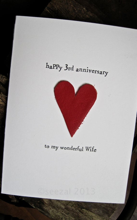 Best ideas about 3 Year Anniversary Gift Ideas For Wife . Save or Pin 3rd Wedding Anniversary Card LEATHER Traditional Gift Handmade Now.