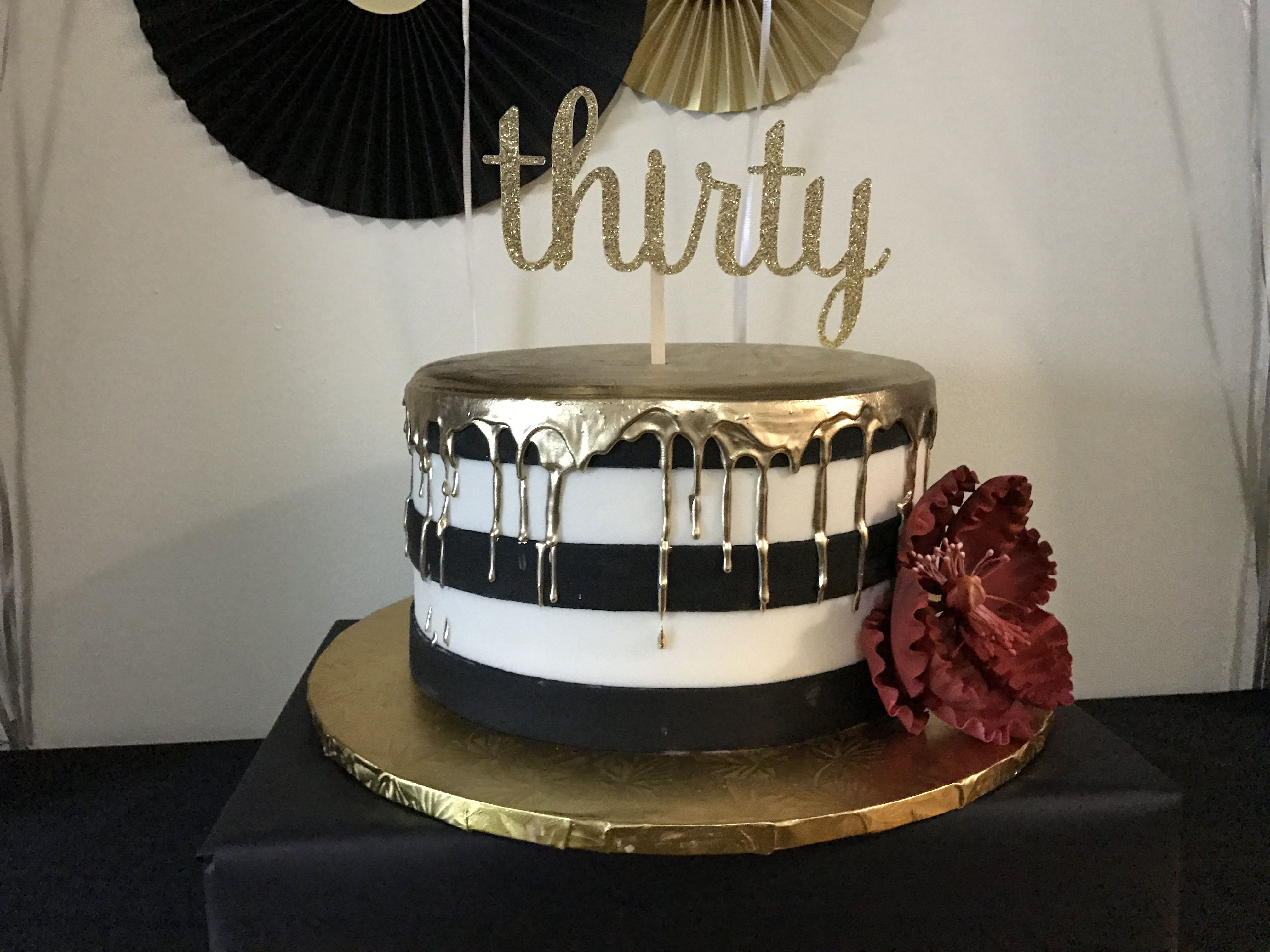 Best ideas about 30th Birthday Cake Ideas . Save or Pin 30th Birthday Cake Black white and gold Now.