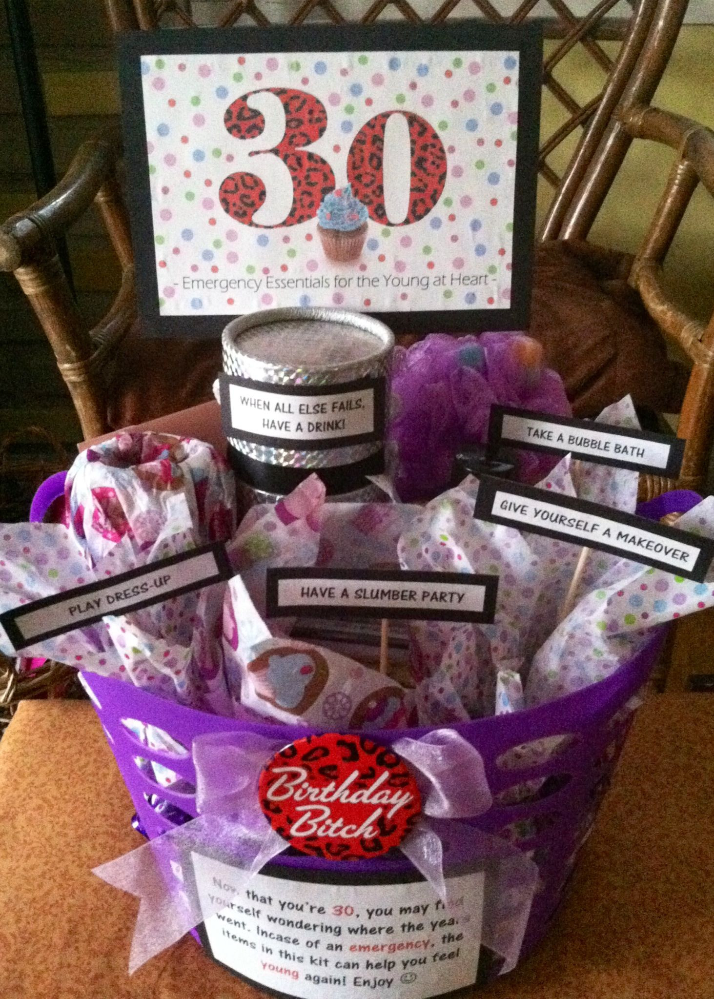 Best ideas about 30Th Birthday Gift Ideas . Save or Pin 30th Birthday Gift Basket 5 ts in 1 Emergency Now.