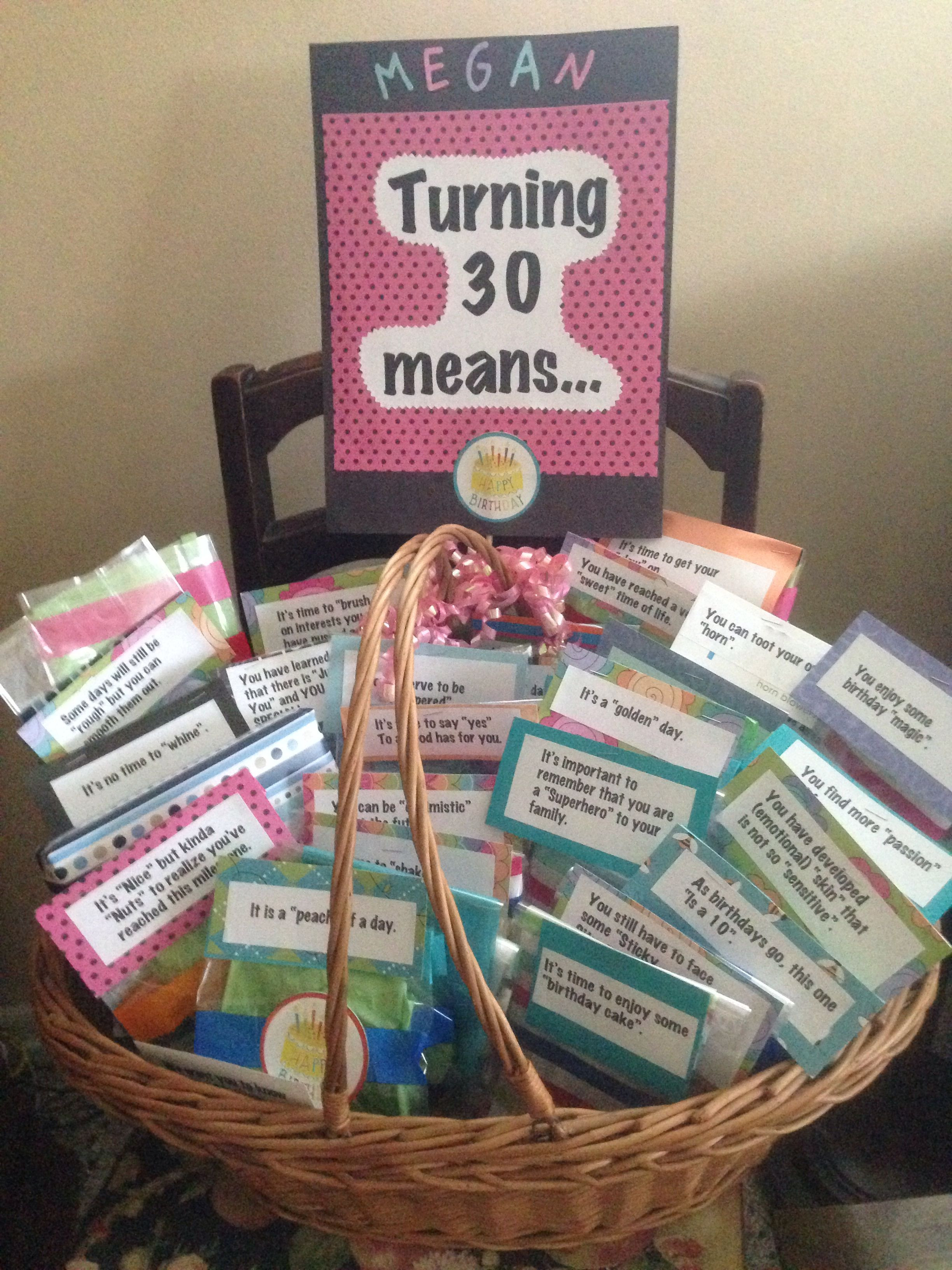 Best ideas about 30Th Birthday Gift Ideas . Save or Pin Turning 30 Gift Basket Gift Baskets Now.