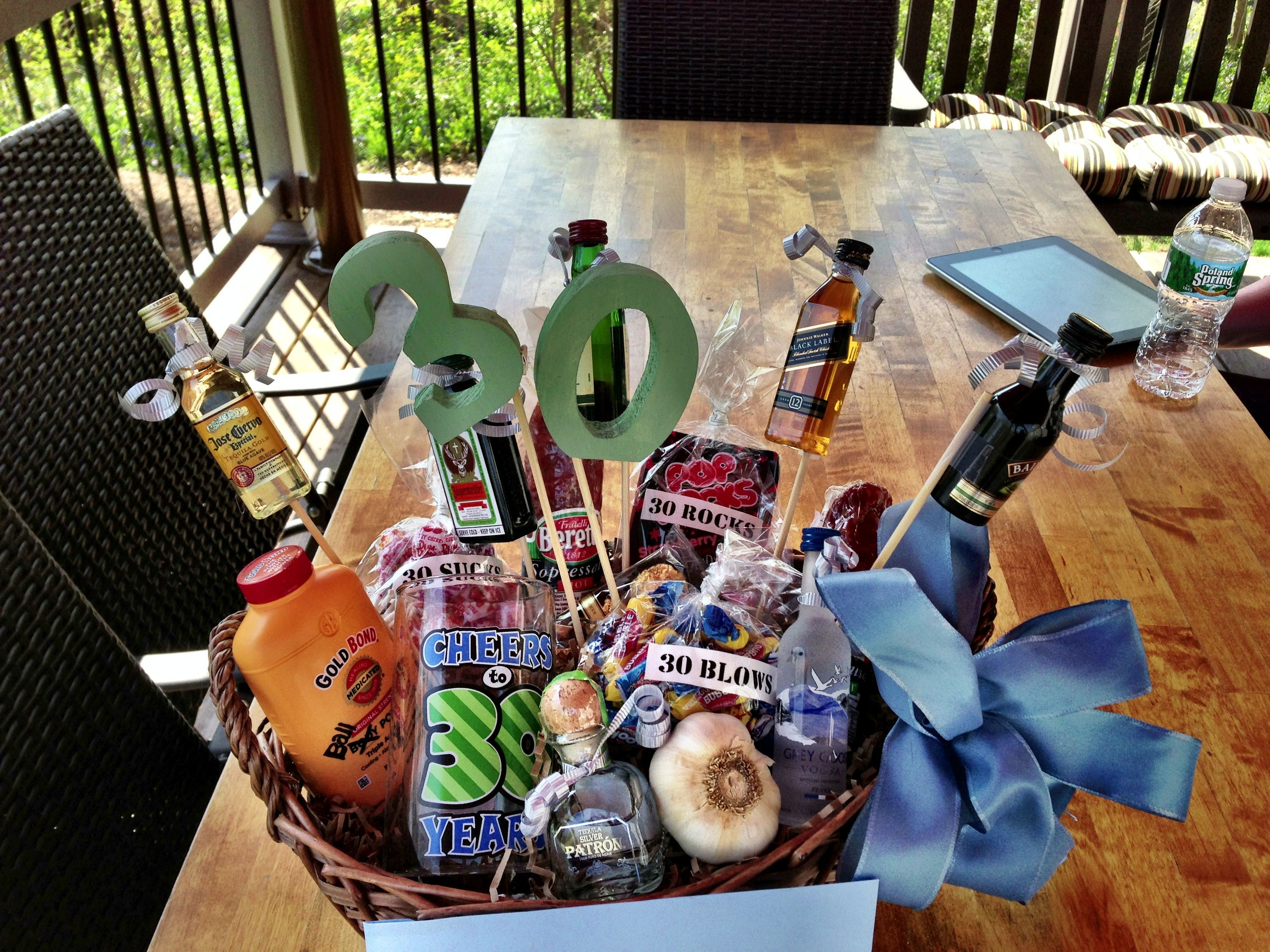 Best ideas about 30th Birthday Gift Ideas For Him . Save or Pin 30th Birthday Gift Basket for him my italian cousin Now.