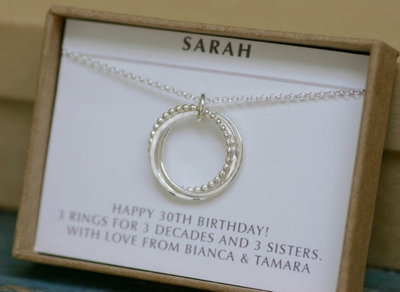 Best ideas about 30Th Birthday Gift Ideas For Sister . Save or Pin 30th birthday t for her 3 sister necklace by Now.