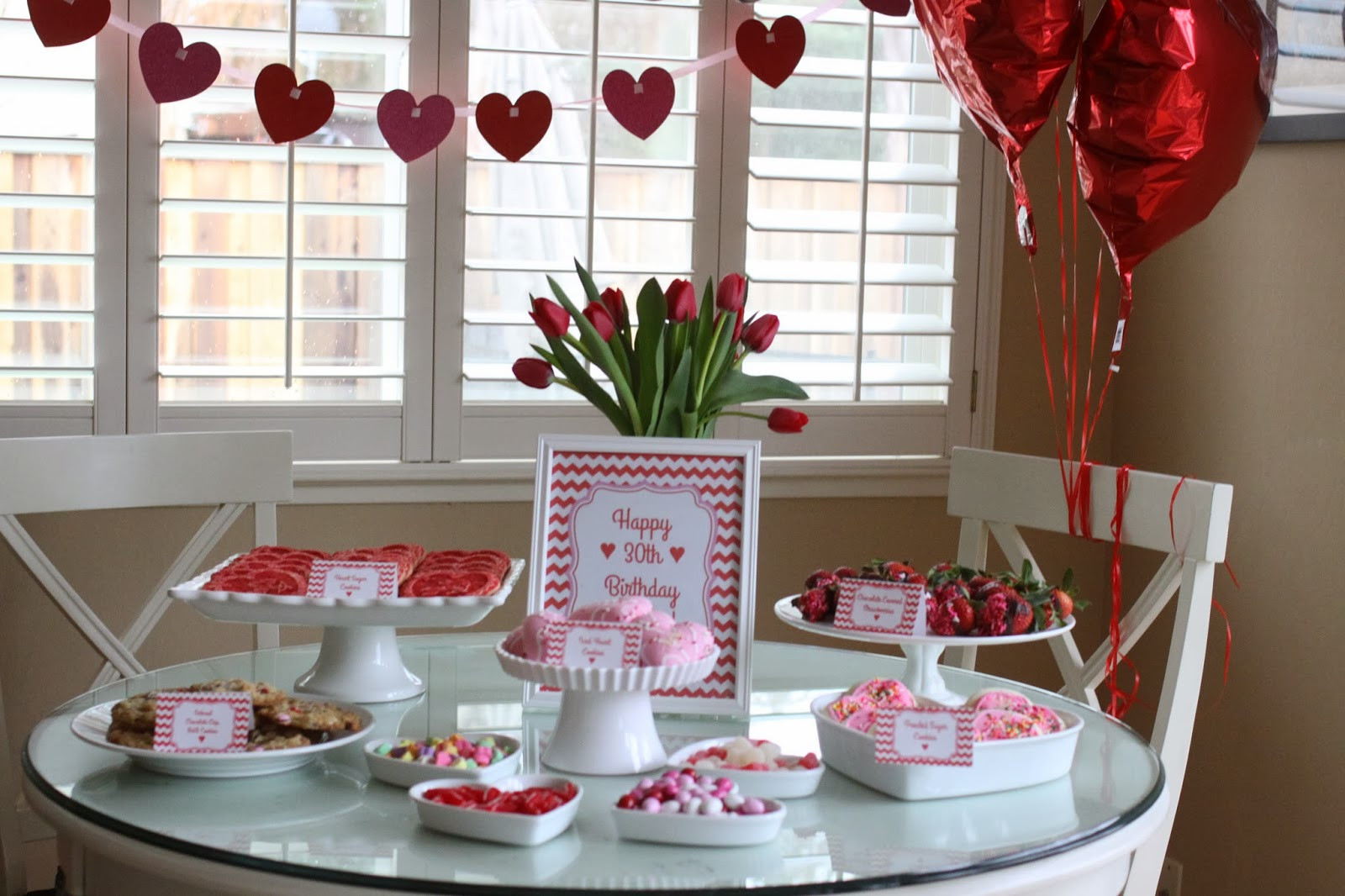 Best ideas about 30th Birthday Party Decorations . Save or Pin The Larson Lingo A 30th Birthday Party Heart Theme Now.
