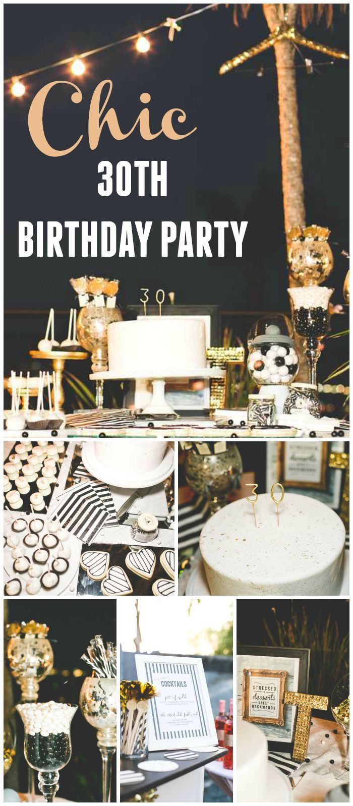 "Best ideas about 30th Birthday Party Decorations . Save or Pin Stripes & Glitter Birthday ""Chic Black White Gold 30th Now."