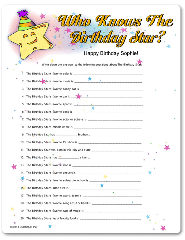Best ideas about 30th Birthday Party Games . Save or Pin Printable Who Knows The Birthday Star Now.