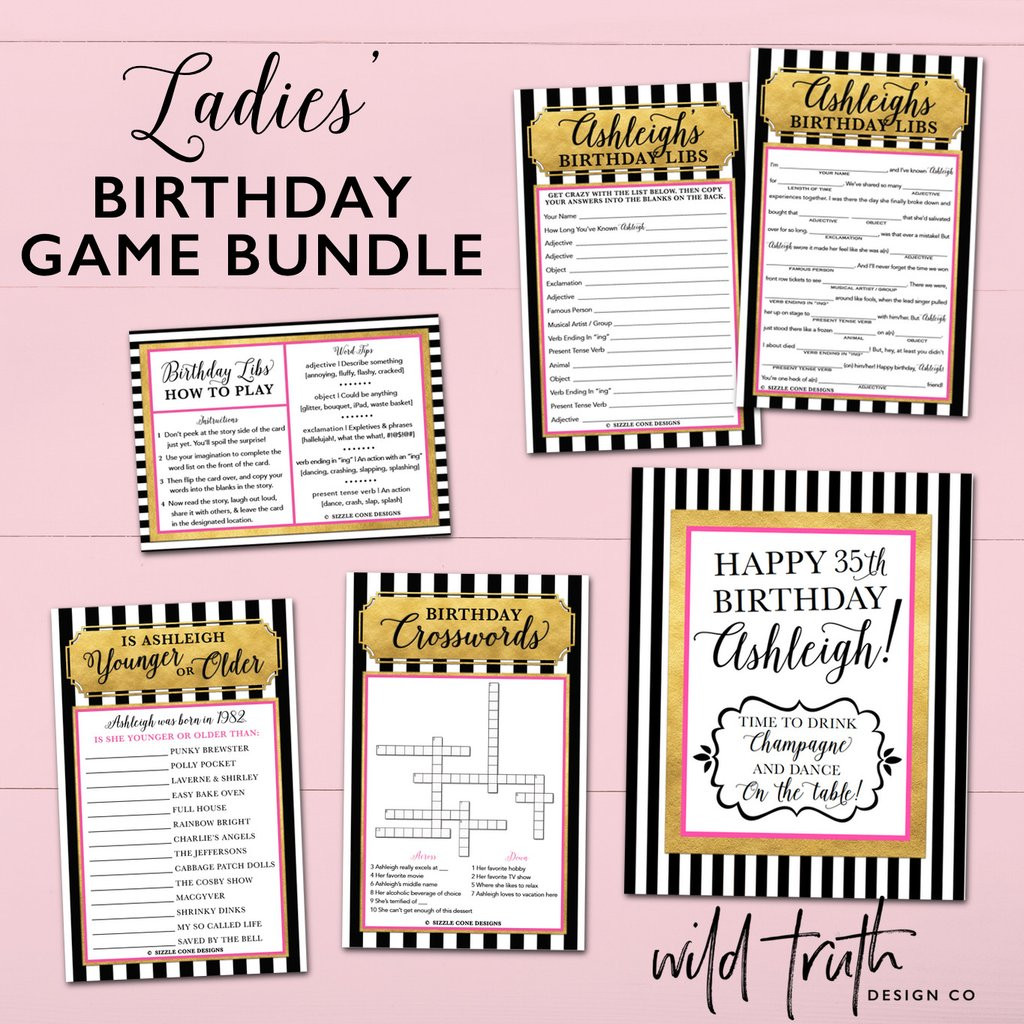 Best ideas about 30th Birthday Party Games . Save or Pin Personalized Women s Birthday Games Bundle Pink Gold Now.