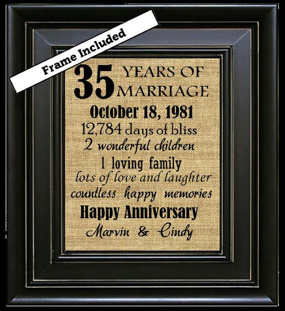 Best ideas about 35Th Anniversary Gift Ideas . Save or Pin 35th Wedding Anniversary 35th Anniversary Gifts by Now.