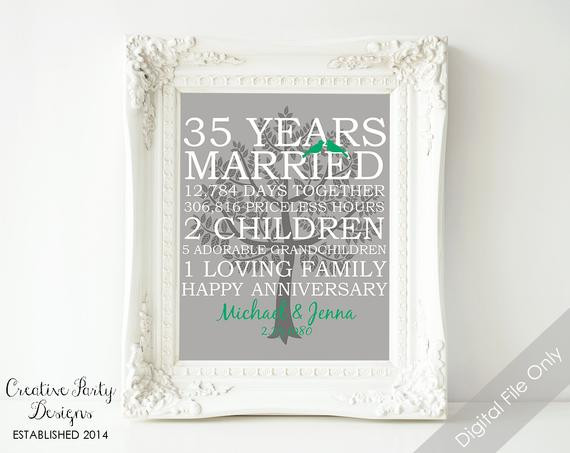 Best ideas about 35Th Anniversary Gift Ideas . Save or Pin 35th Wedding Anniversary Gift 35th Anniversary Print Now.