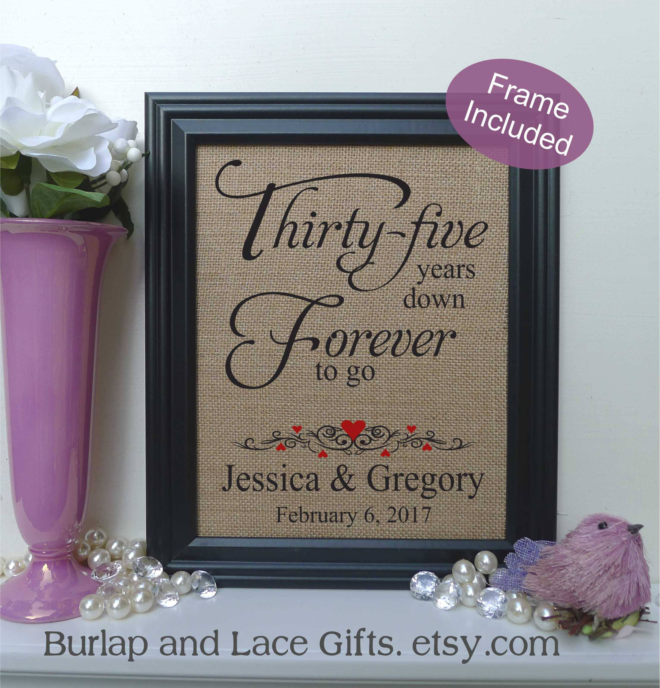 Best ideas about 35Th Anniversary Gift Ideas . Save or Pin FRAMED Personalized 35th Anniversary Gift 35 years of Now.