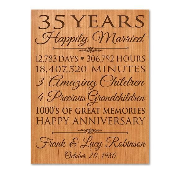 Best ideas about 35Th Anniversary Gift Ideas . Save or Pin Personalized 35th anniversary t for him 35 year wedding Now.