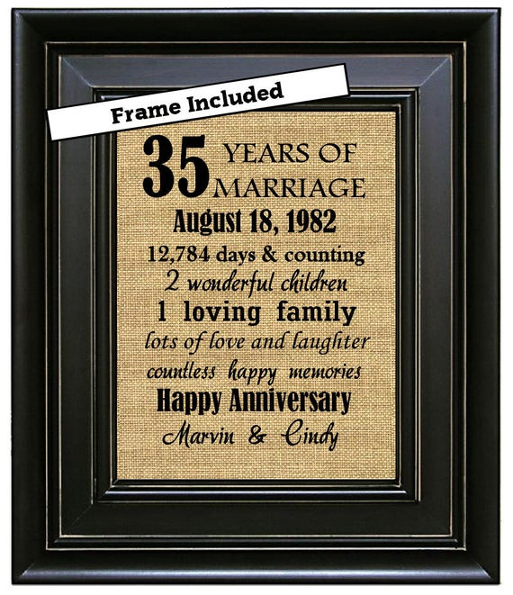Best ideas about 35Th Anniversary Gift Ideas . Save or Pin FRAMED 35th Wedding Anniversary 35th Anniversary Gifts 35th Now.