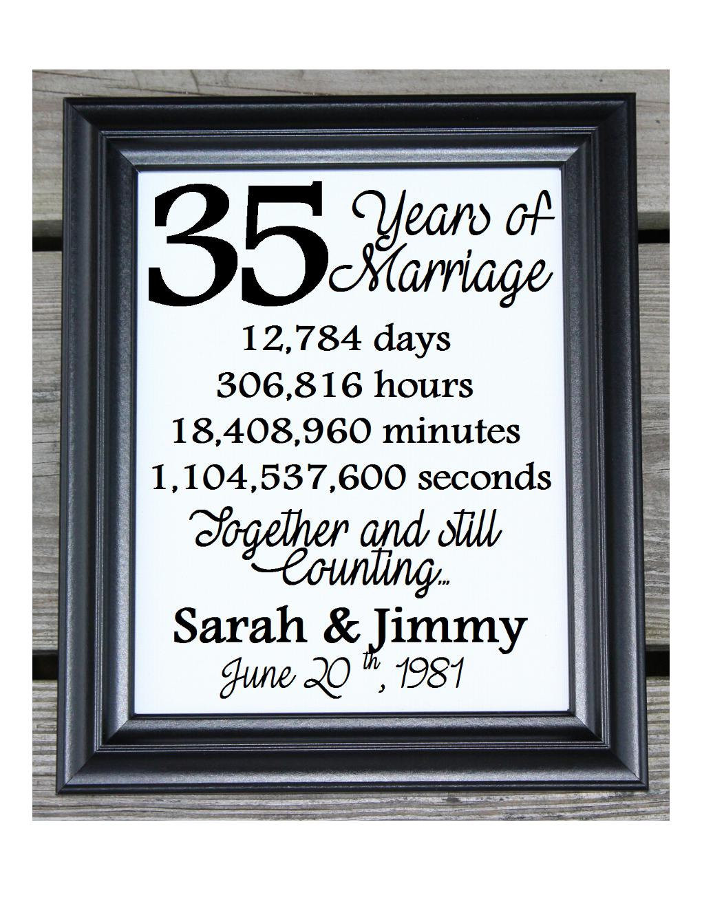 Best ideas about 35Th Anniversary Gift Ideas . Save or Pin 35th Wedding Anniversary Cotton Print 35th Wedding Gift 35 Now.