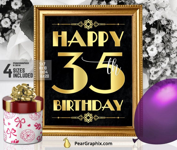 Best ideas about 35th Birthday Decorations . Save or Pin Happy 35th Birthday Sign Printable 35th Birthday Decor Now.