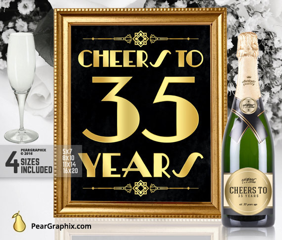 Best ideas about 35th Birthday Decorations . Save or Pin Cheers To 35 Years Printable Sign 35th Birthday Party Now.