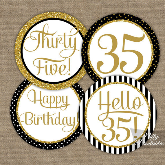 Best ideas about 35th Birthday Decorations . Save or Pin 35th Birthday Cupcake Toppers Black & Gold 35 Years Bday Now.