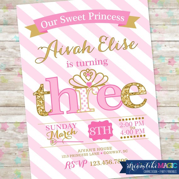 Best ideas about 3rd Birthday Invitations . Save or Pin Princess Birthday Invitation 3rd Birthday Party Invite Pink Now.