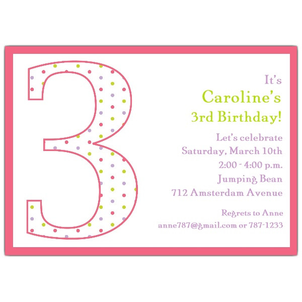 Best ideas about 3rd Birthday Invitations . Save or Pin 3rd Birthday Girl Dots Invitations Now.