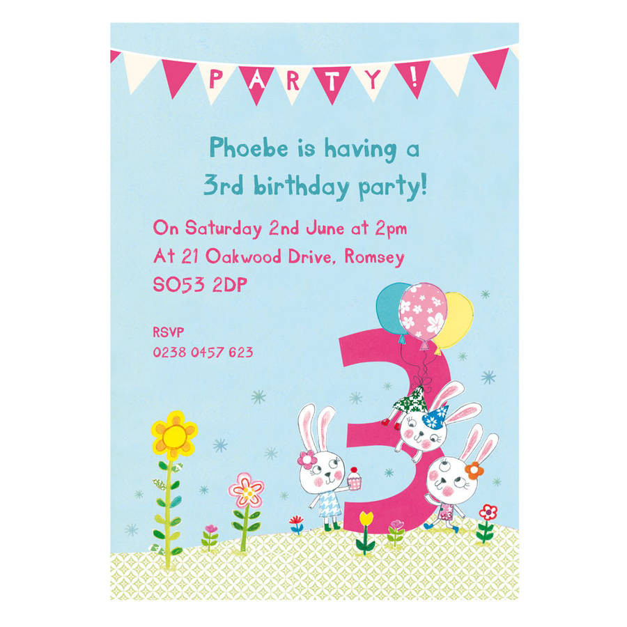 Best ideas about 3rd Birthday Invitations . Save or Pin personalised third birthday party invitations by made by Now.