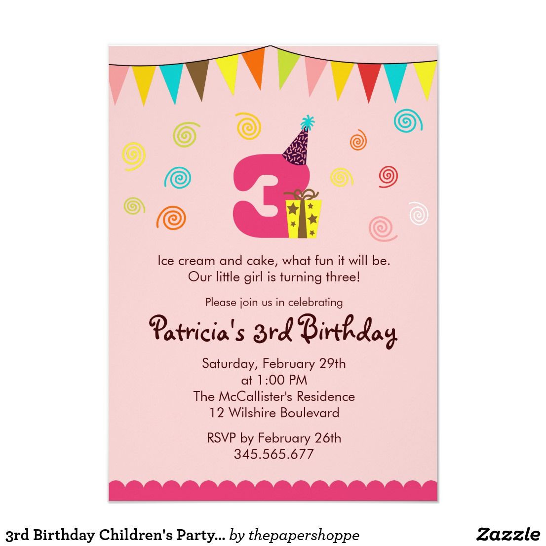 Best ideas about 3rd Birthday Invitations . Save or Pin 3rd Birthday Children s Party Invitation Now.