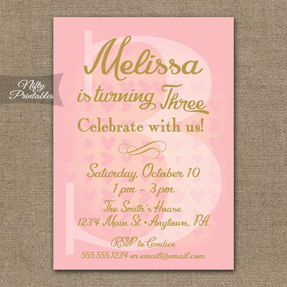 Best ideas about 3rd Birthday Invitations . Save or Pin 3rd Birthday Invitations Pink & Gold Printable 3rd Birthday Now.