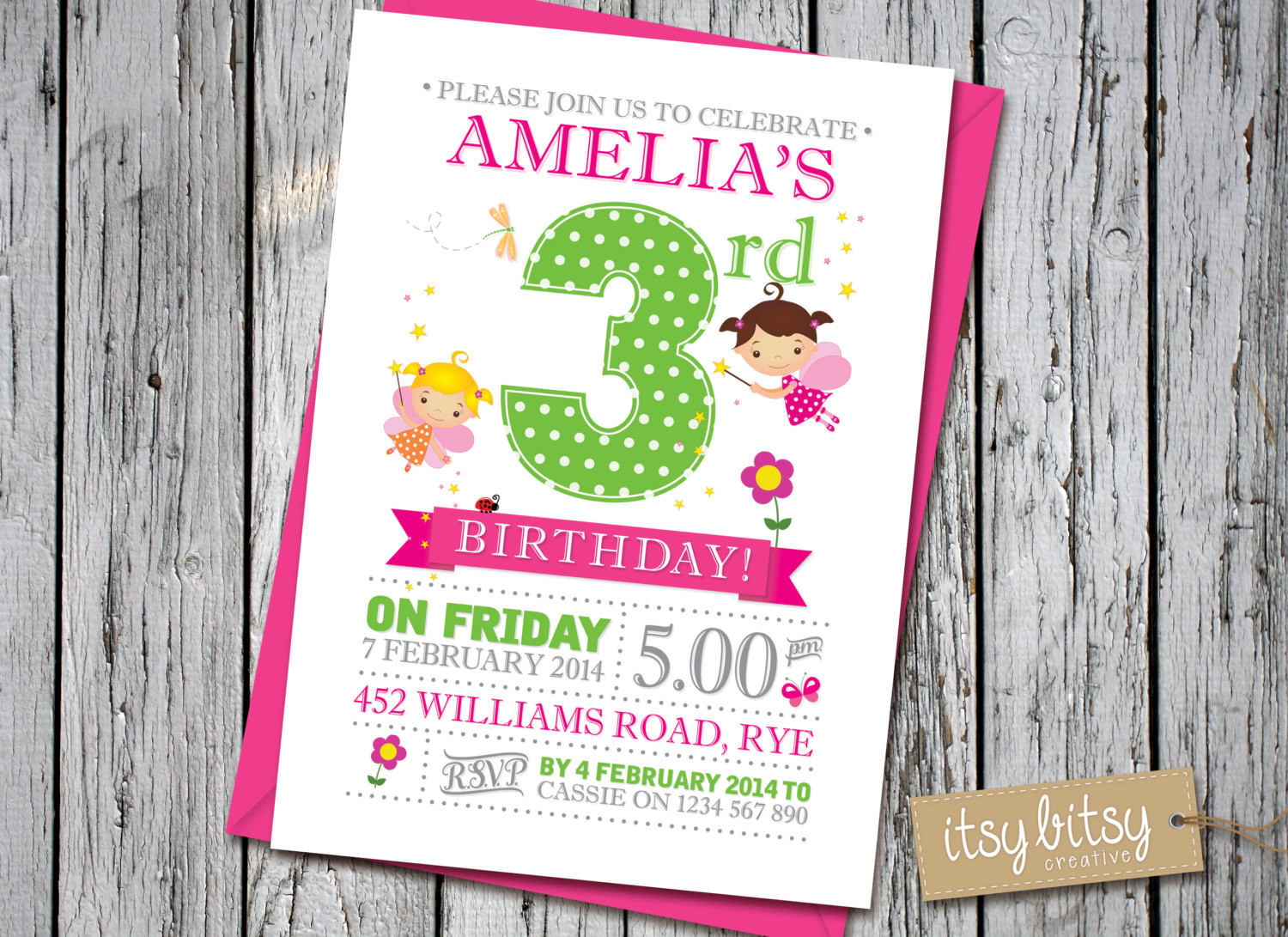 Best ideas about 3rd Birthday Invitations . Save or Pin Fairy Birthday Invitation 3rd Birthday Invitation 4th Now.