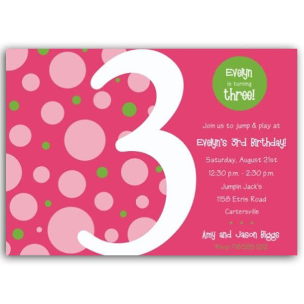 Best ideas about 3rd Birthday Invitations . Save or Pin Birthday Bubbles Pink Green Third Party Invitations Now.
