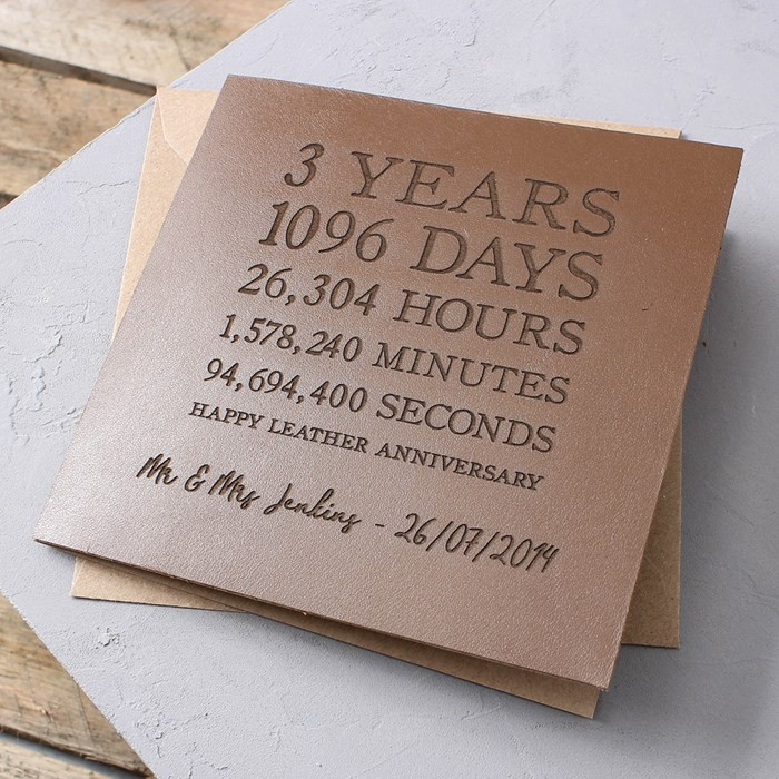 Best ideas about 3Rd Year Anniversary Gift Ideas . Save or Pin Personalised Time Card Leather 3rd Anniversary Now.