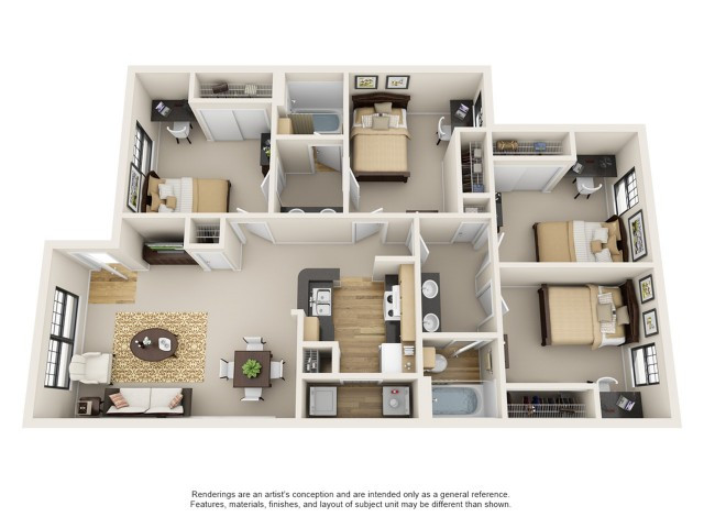 Best ideas about 4 Bedroom Apartments . Save or Pin Campus Crossings on Brightside Baton Rouge LA Now.