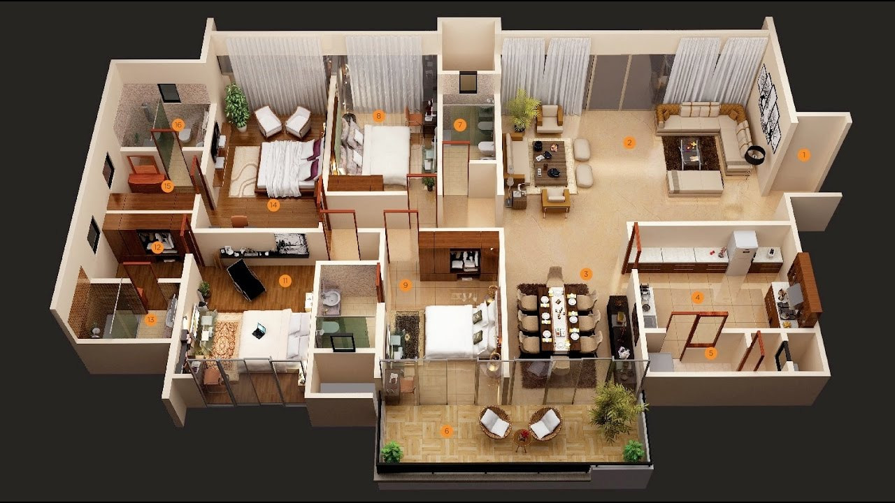 "Best ideas about 4 Bedroom Apartments . Save or Pin 50 Four ""4"" Bedroom Apartment House Plans Architecture Now."