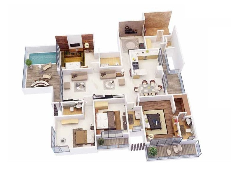 "Best ideas about 4 Bedroom Apartments . Save or Pin 50 Four ""4"" Bedroom Apartment House Plans Now."