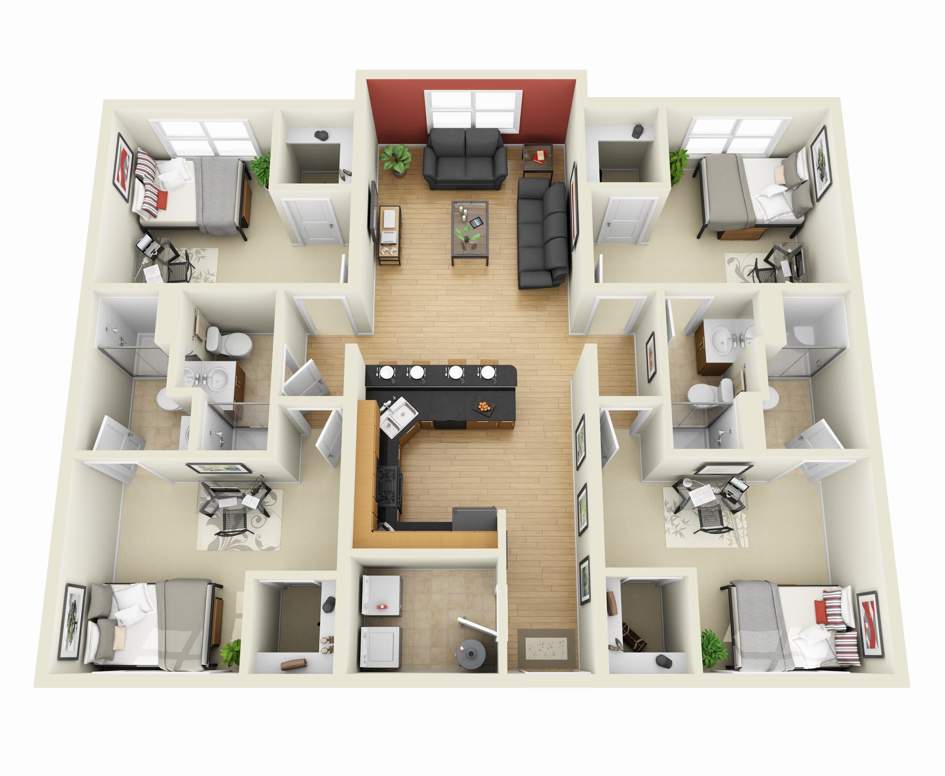Best ideas about 4 Bedroom Apartments . Save or Pin 4 Bedroom Apartment House Plans Now.