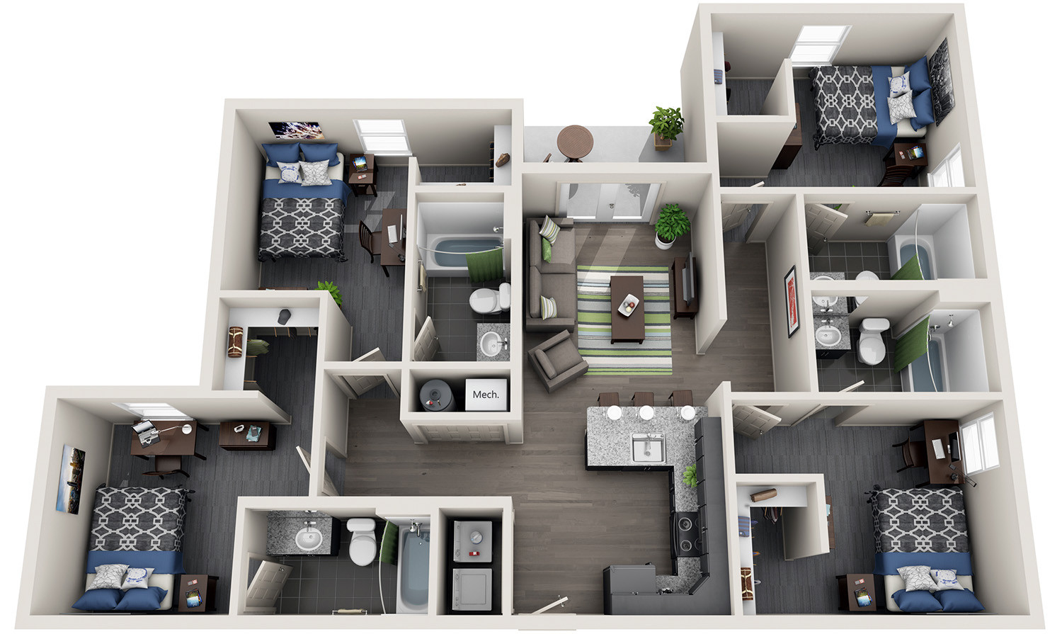 Best ideas about 4 Bedroom Apartments . Save or Pin 4 Bedroom Student Housing f Campus Apartment Now.