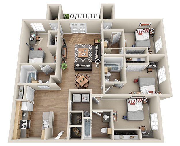 Best ideas about 4 Bedroom Apartments . Save or Pin uCribs Now.