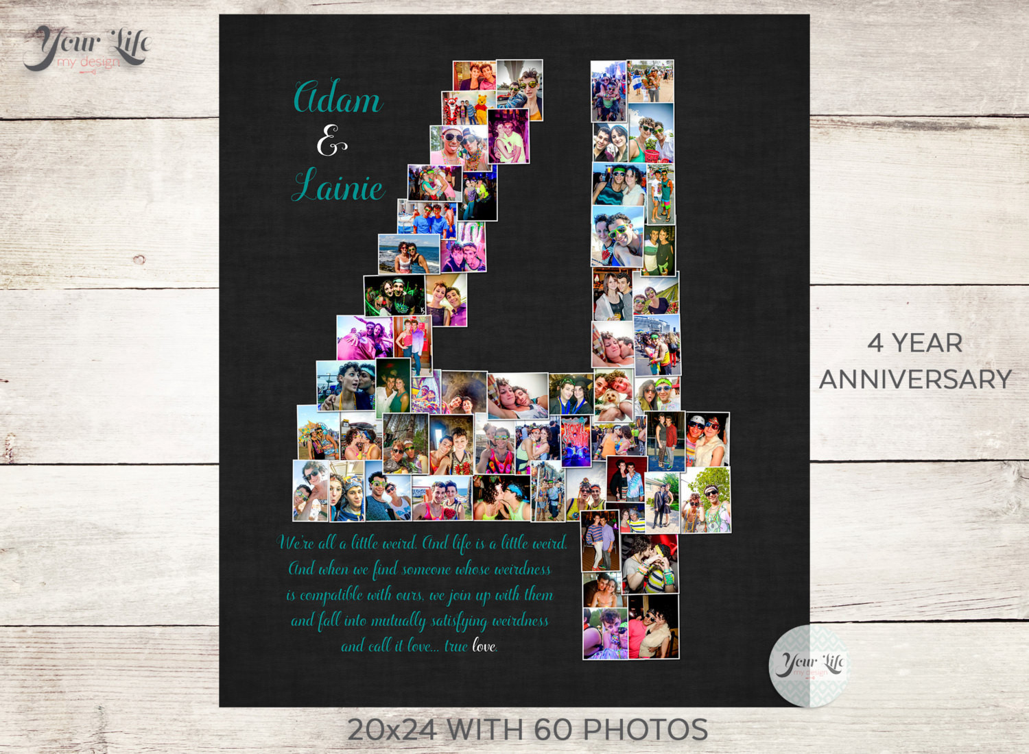 Best ideas about 4 Year Wedding Anniversary Gift Ideas For Him . Save or Pin 4 YEAR ANNIVERSARY 4th Anniversary Gift Collage 4th Now.
