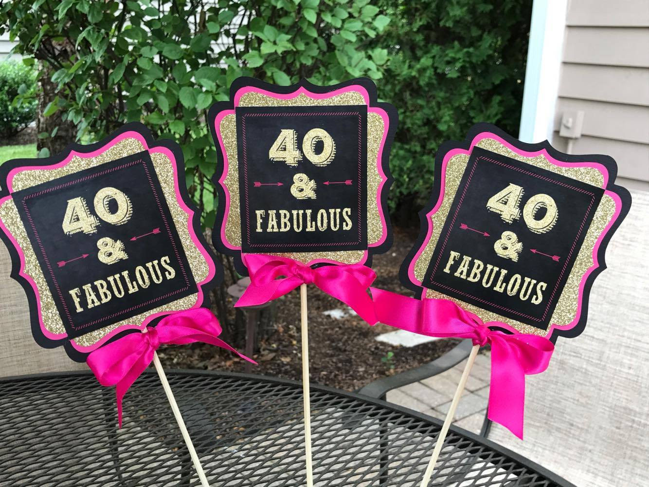 Best ideas about 40 Birthday Decorations . Save or Pin FORTY AND FABULOUS 40 and Fabulous 40th Centerpiece 40th Now.