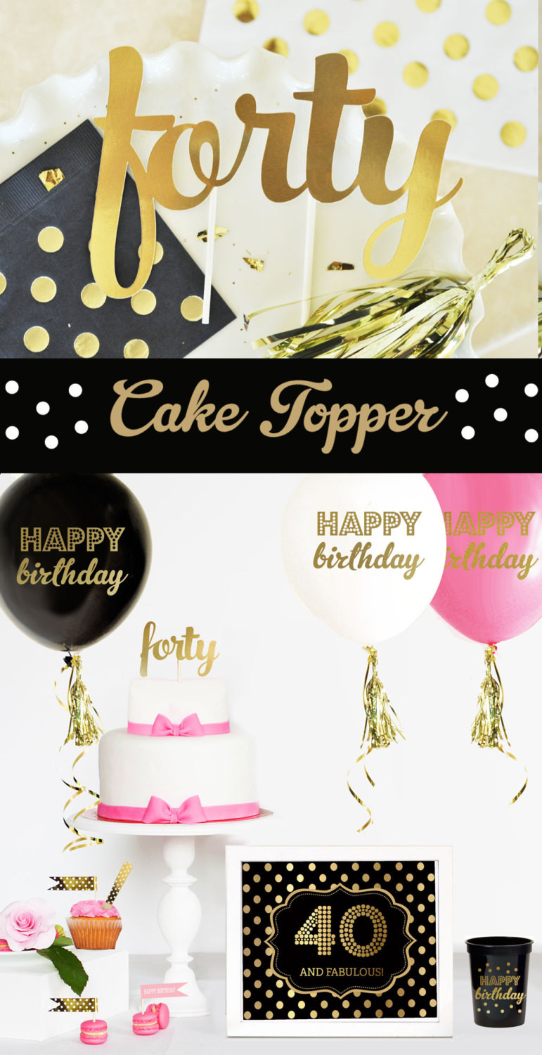 Best ideas about 40 Birthday Decorations . Save or Pin 40 Cake Topper 40th Birthday Cake Topper 40th Cake Topper Now.