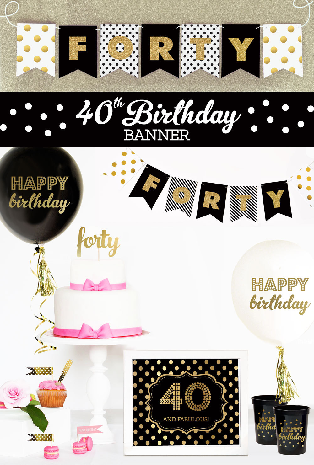 Best ideas about 40 Birthday Decorations . Save or Pin 40th Birthday Banner 40th Birthday Party Decor 40th Now.