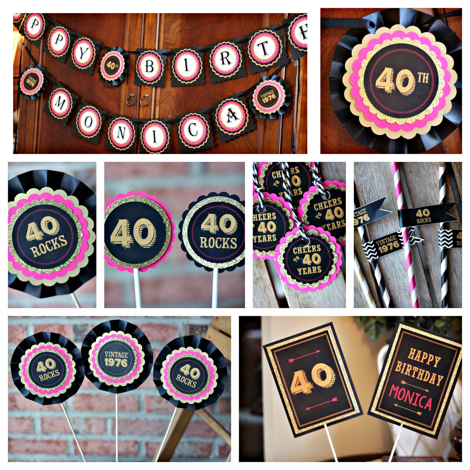 Best ideas about 40 Birthday Decorations . Save or Pin La s 40th birthday party decorations Black hot pink and Now.