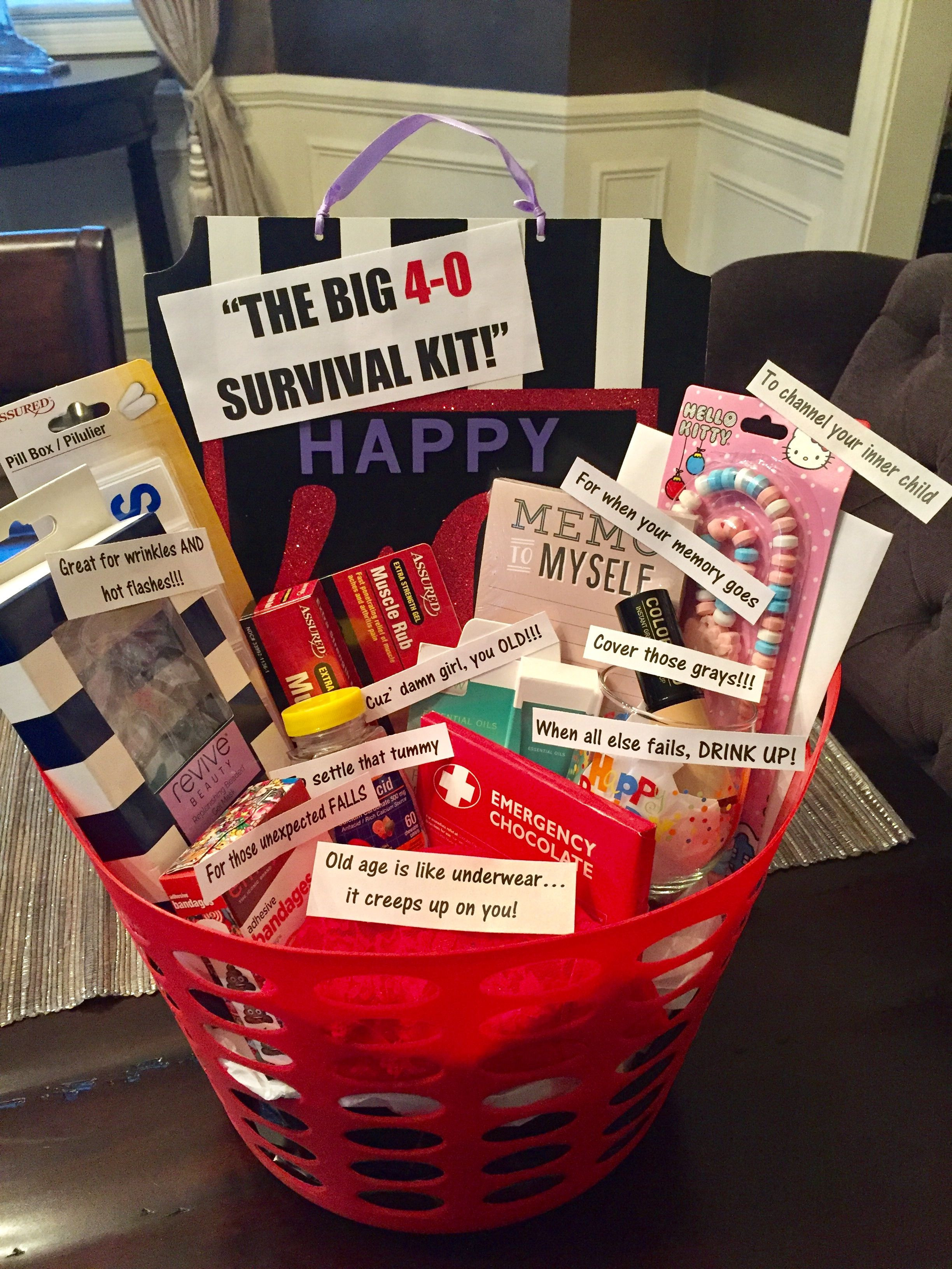 Best ideas about 40Th Birthday Gift Ideas For Best Friend . Save or Pin 40th birthday survival kit for a woman most things from Now.