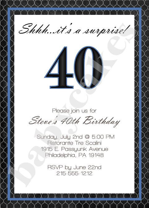 Best ideas about 40th Birthday Invitations For Him . Save or Pin Adult Male Birthday Invitation 40th Birthday by jcbabycakes Now.