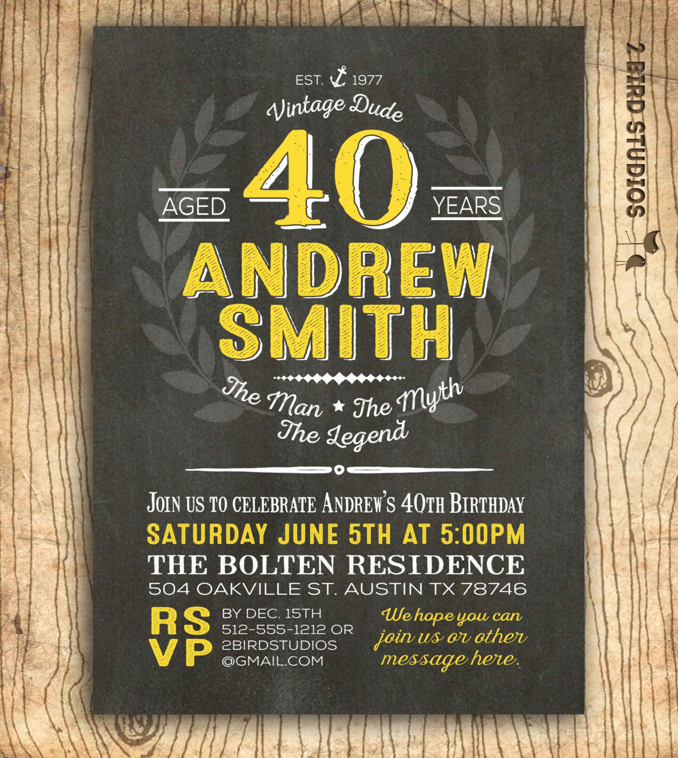 Best ideas about 40th Birthday Invitations For Him . Save or Pin 40th birthday invitation for him surprise 40th birthday Now.